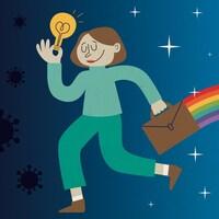 Illustration d'une entrepreneur qui marche vers l'avenir, une ampoule allumée à la main, laissant derrière elle une traînée d'arc-en-ciel.