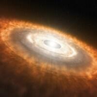 Illustration artistique montrant une étoile naissante entourée d'un disque dans lequel des planètes se forment.