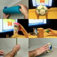 Photo montage de plans serrés de quatre objets différents utilisés en combinaison avec un logiciel d'ordinateur pour travailler la motricité fine des participants.