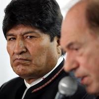 Evo Morales lors d'une conférence de presse.