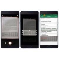 Trois téléphones côte à côte sur lesquels on peut voir des captures d'écran de l'opération servant à transformer une photo en tableau Excel.