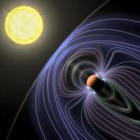 Illustration représentant une étoile, une exoplanète et le signal radio qui en émane.