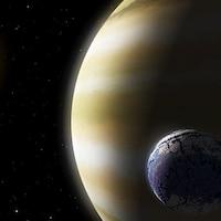 Illustration d'une lune en orbite autour d'une planète à l'extérieur de notre système solaire.