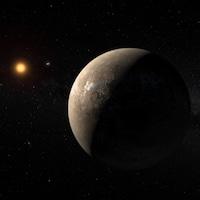 Représentation artistique de l'exoplanète Proxima b en orbite autour de Proxima du Centaure.
