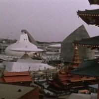 Vue d'ensemble des pavillons d'Expo 70 à Osaka.