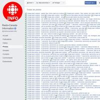 Une capture d'écran de la page Facebook de Radio-Canada Information montrant la description textuelle des photos qui devraient s'y trouver.