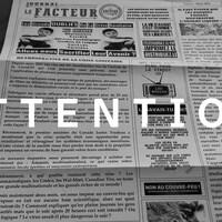On voit la page couverture du dépliant intitulé Le Facteur, avec la mention « Attention » par-dessus.