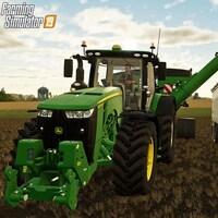 Une capture d'écran tirée du jeu vidéo Farming Simulator montrant un tracteur John Deere en train de récolter des grains dans un champ et de les déverser dans une remorque située à côté de lui.