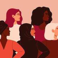 Dessin de cinq femmes stylisées, de profil, représentant une diversité d'origines.