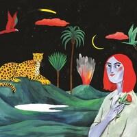 La peinture représente des volcans en éruption, une femme, des palmiers, un animal et des oiseaux.
