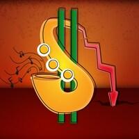 Un saxophone en forme du symbol d'argent. Une flèche vers le bas montre un déficit.