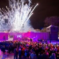 Des centaines de personnes assistent au lancement du 45e Festival du Voyageur le vendredi soir 14 février 2014 à Winnipeg.