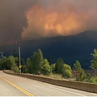 Des flammes brûlent dans une forêt au loin et beaucoup de fumée rempli s'en échappe dans le ciel.