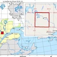 Carte indiquant le secteur visé par l'interdiction d'accès du ministère des Forêts, de la Faune et des Parcs.