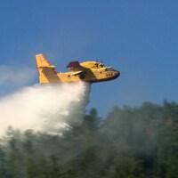 Un avion-citerne relâche de  l'eau sur un feu de forêt.