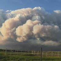 Nuage de fumée au-dessus d'un champ