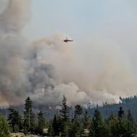 Un hélicoptère survole un immense nuage provoqué par les feux.