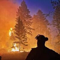 Silhouette d'un pompier à contre-jour devant un brasier de forêt.