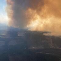 Un nuage de fumée provenant d'une forêt.