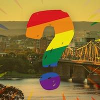 Un point d'interrogation aux couleurs de l'arc-en-ciel avec dans le fond une photo de la rivière des Outaouais.