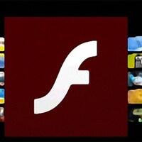 Le logo rouge de Flash en avant-plan avec des images d'animation en arrière-plan.