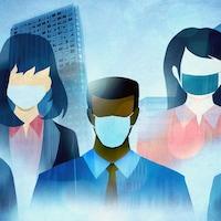 Personnages illustrés portant un masque devant une image des Terrasses-de-la-Chaudière à Gatineau.