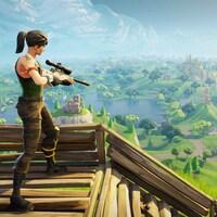 Une capture d'écran du jeu Fortnite : Battle Royale montrant un personnage féminin perché au sommet d'un escalier en bois surplombant une vallée luxuriante; le personnage tient une arme à feu.