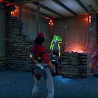 Image tirée d'un jeu vidéo où l'on voit un personnage de médecin militaire qui vise un autre personnage avec un fusil et qui doit soigner ce dernier.