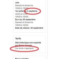 Une capture d'écran du site web de Parcs Canada révèle des erreurs de français dans les sections sur les tarifs et les heures d'ouverture.