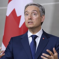 Il parle devant un drapeau du Canada.