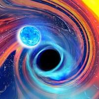 Illustration artistique d'une fusion trou noir-étoile à neutrons.