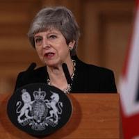 Le première ministre Theresa May lors d'une conférence de presse mardi à Londres.