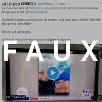 Capture d'écran d'un tweet de l'animateur Jeff Fillion avec le mot «Faux» en surimpression.