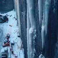 Chantier avec un mur de glace