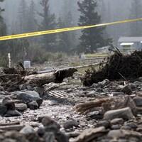 Des troncs d'arbres, des cailloux et d'autres débris au sol après le glissement de terrain.