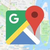 Le logo de Google Maps superposé à une carte géographique.