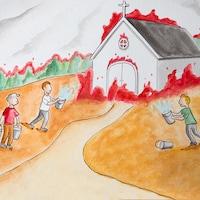 Des hommes arrosent une église en feu avec des seaux.