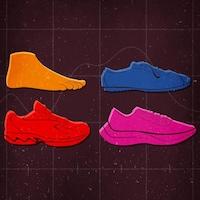 Illustration d'un pied, d'un soulier minimaliste, d'un soulier des années 90 ainsi que d'un soulier maximaliste.