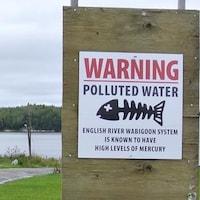 Un panneau qui avise les résidents que la rivière Wabigoon est contaminée au mercure.