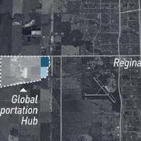 Une carte géographique des terres situées dans l'ouest de la ville de Regina.