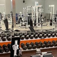 Une salle d'entraînement avec des machines et des haltères.