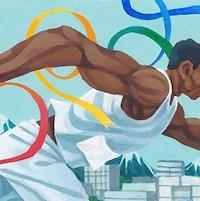 Image du coureur Harry Jerome, inspirée de sa statue au parc Stanley, à Vancouver.