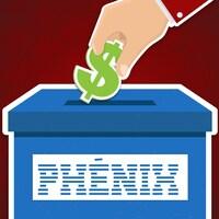 Illustration montrant une main déposant un signe de dollar dans une boîte sur laquelle est écrit « Phénix ».