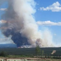 Un panache de fumée s'élève sur la forêt d'Edson.