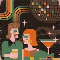 Illustration rassemblant une boule disco, un cocktail, une guitare, le pont Laviolette et deux personnes habillées à la mode des années 70 et 80.