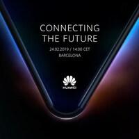 Une photo montrant la silhouette d'un téléphone pliable. Le slogan « Connecter le futur » est inscrit en anglais au centre, accompagné de la date du 24 février 2019.