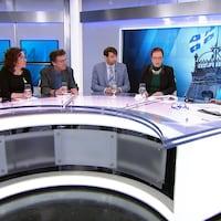 Six personnes autour d'un plateau de télévision