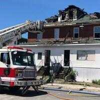 Une maison endommagée par le feu