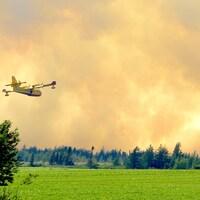 Un avion-citerne survole un feu de forêt.