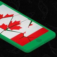 Une illustration d'un téléphone cellulaire, dont l'écran brisé affiche un drapeau canadien.